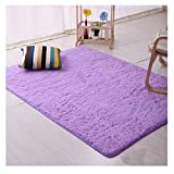 FLORATA Round Fluffy Rugs Anti-Skid Shaggy Carpet Floor Mats Ideal for Dining Room Home Bedroom Living Room, Various Colours, Purple,60x120 cm