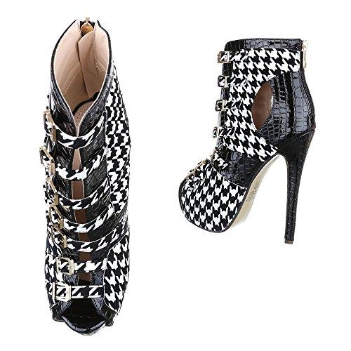 Ital-Design High Heel Damen Schuhe Plateau Pfennig-/Stilettoabsatz High Heels Reißverschluss Pumps Schwarz Weiß RMD-1198