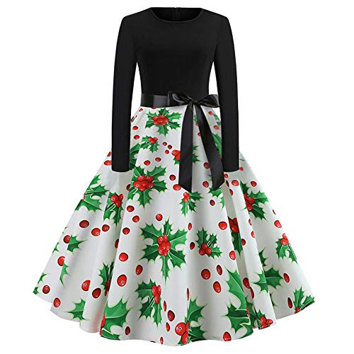 Linkay Ladies Women Christmas Dresses Print Top Hooded Pullover Long Sleeve Bow Vintage Evening Party Swing Red