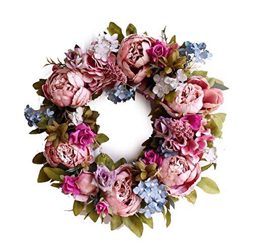 Yw-Flower Rosa Pfingstrose Blume künstlicher Kranz, Haustür Girlande Herbst Home Wall Hochzeitsdekor, 15,7 Zoll -