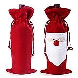 Weinflaschentasche für Weihnachten, Geschenkverpackung, Kordeltasche, für Dinnerpartys, Weihnachten, Getränkbeutel, Dekoration, Red Santa, 2er-Pack