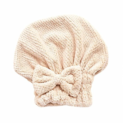 Gaddrt Microfiber Hair Turban schnell trockenes Haar Hut gewickelt Handtuch Badekappe (Khaki) -