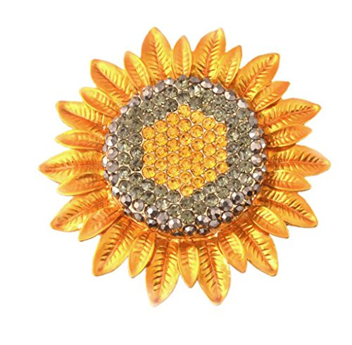 Sunflower Diamonds Scarf Buckle Badge Brooch Shirt Corsage Brooch and Pin for Women