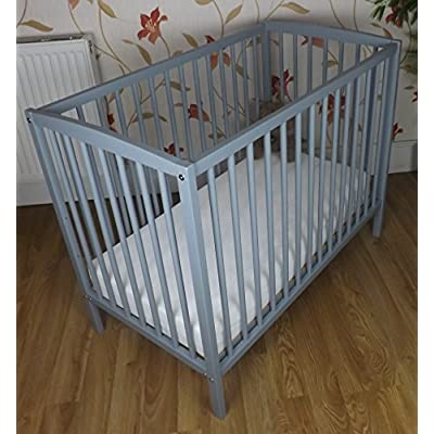 SPACE SAVER SMALL COT 4 BABY / + MATTRESS/ Grey / Little Cot / 100 x 52.5 CM /Perfect for Small Rooms ...