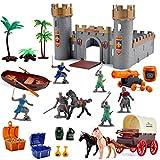 deAO Mittelalterliche Ritter Action-Figur Spielzeug Spielset einschließlich Castle, Katapult und Pferdekutschen mit Licht, Musik und Zubehör