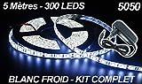 Komplett-Bausatz LED-Leiste, flexibel - 5 METER - 300 LEDS-Farbe: Kaltweiß - 5050