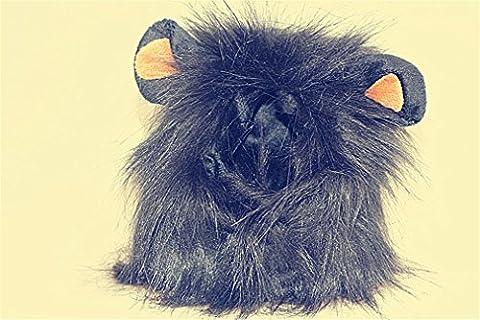 Haustier-Versorgungsmaterialien Löwe-Mähnen-Perücke-lustiges Puppy-Kätzchen-Haustier-Hut Weihnachtshalloween-Kostüm(Schwarz)