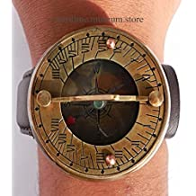 Handschlaufe Armbanduhr Sonnenuhr Kompass mit Lederband. c-3117-a