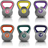 JLL® Vinyl Colour Coded Kettlebells Home Gym Training Weight Fitness Kettlebell Ranging From 2kg, 4kg, 6kg, 8kg, 10kg & 12kg and Set Combinations.