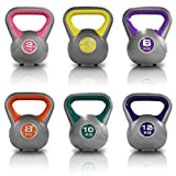 JLL® Vinyl Colour Coded Kettlebells Home Gym Training Weight Fitness Kettlebell 2kg, 4kg, 6kg, 8kg, 10kg & 12kg and Set Combinations. (Yellow, 2 x 4KG)