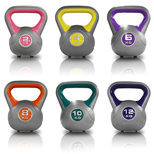 JLL Vinyl Colour Coded Kettlebells Home Gym Training Weight Fitness Kettlebell 2kg, 4kg, 6kg, 8kg, 10kg amp; 12kg and Set Combinations. (Blue, 2 x 12KG)