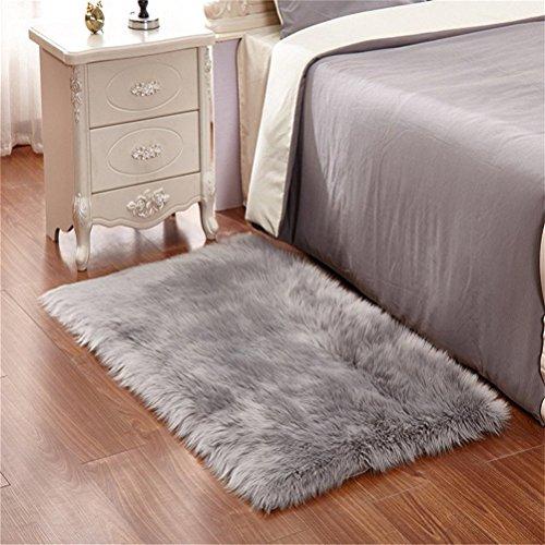 Faux Lammfell Schaffell Teppich 60 x 90 cm Wohnzimmer Teppiche Flauschig Lange Haare Fell Optik Gemütliches Schaffell Bettvorleger Sofa Matte (Grau)