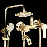 GY&H Badezimmer-Duschsysteme, kupferner Gold-plattierter europäischer Boost-Regen-Mischer-Duschkombo-Satz, justierbarer Niederschlag-Wasserfall dreiweg aus dem Wasser Duschkopf,A