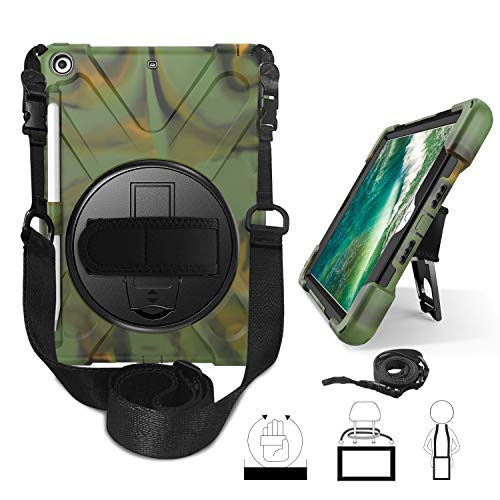 Yoomer Schutzhülle für iPad 9.7 2017/2018, dreilagig, stoßfest, 360 Grad drehbar, mit Standfunktion, Handschlaufe, Schultergurt und Stylus-Halterung für iPad 6. Generation 9,7 Zoll, Camouflage - Generation Crystal Clear Case