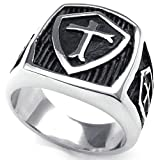 Aooaz Gravure Libre Ring For Men Shield Gothic Christ Cross Punk Silver Black 20 mm Taille: 15 Nouveauté