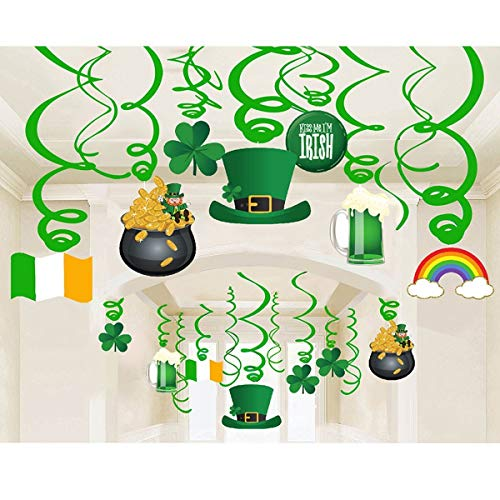 k St.Patrick Day Party Dekoration Swirls Lucky Irish Green St. Patrick's Day Kleeblatt Folie hängen Swirl Dekoration für St. Patrick Party Home Party Favors Supplies Decor B167 ()