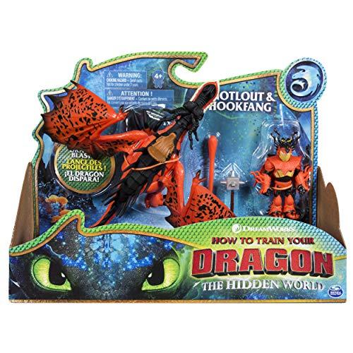 Dragons 6046907 - Movie Line Dragons & Vikings, Snotlout & Hookfang (Solid), Action Figur, Dragons, Drachenzähmen leicht gemacht, Die geheime Welt, Rotzbacke, Hakenzahn