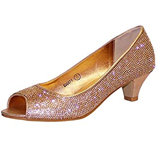 Rock on Styles Ladies Women Party Super Sparkly Diamante Party Evening Prom Bridal Low Kitten Heels Court Shoes Sandals 671 (UK 6 / EU 39, Rose Gold/Champagne)