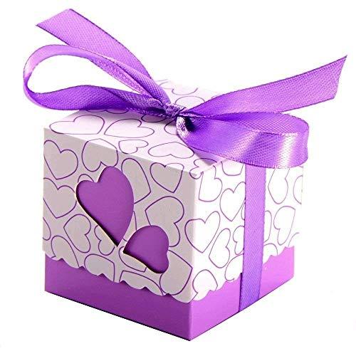 JZK 50 x Lila Herz Papier Party Bevorzugungskasten Geschenkbox für Bevorzugungen, Süßigkeiten, Konfetti, Geschenke, Babyparty Heilige Kommunion Weihnachten
