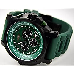 "'""Watch, Flieger Chronograph Green with Case"