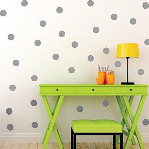 Mehrfarbig Polka Dot Tupfen Vinyl Wandtattoos Runder Kreis Wandaufkleber Wandkunst Kinderzimmer Babyzimmer Dekoration, 102pcs /200pcs (5cm, 100 Punkte, Grau) -