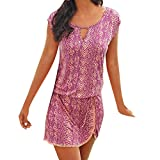 B-commerce Frauen Sommerkleid Neckholder Boho Print Sleeveless Lässige Mini Beachwear Kleid Sommerkleid Sexy Mode Rundhalsausschnitt Kurzarm Strandkleid
