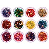 Rrimin 12 Colors Musical Note Shape Nail Art Decorations Glitter Nail Sequins