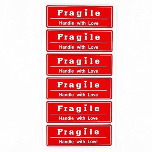 "Roter Aufkleber mit Aufschrift \""Fragile\"", Papier, rot, 1x3\"" fragile"