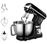 Stand Mixer, 5-Quart 500-Watt 6-Speed Dough Mixer with Stainless Steel Bowl, Tilt-Head Food Mixer, Kitchen Electric Mixer with Double Dough Hooks, Whisk, Beater, Pouring Shield, Black