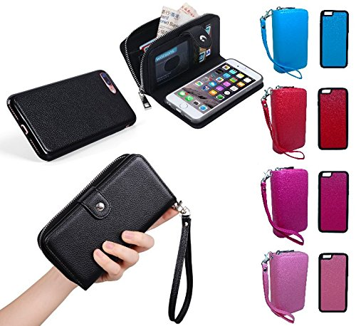 Portemonnaie Portmonee Geldbörse mit iPhone Hülle Magnet Case abnehmbar PU-Leder - verschiedene Farben | iPhone 6, 6S, 6 plus, 6S plus, 7, 7 plus (iPhone 7 plus, - Leder 6 Geldbörse Plus Iphone Rosa