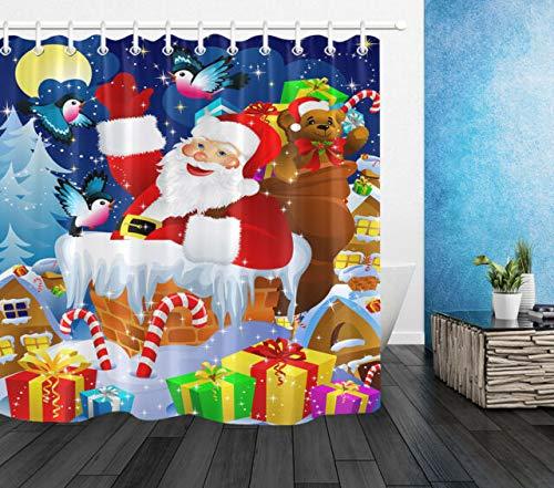 OqgsMindyzk Noche Azul Luna Oso casa Nieve Abeto Santa Navidad Regalo Chimenea...