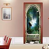 CARDH Stickers Porte 77X200Cm 3D Beau Paysage Dooe Autocollants pour Salon Chambre PVC Adhésif Papier Peint Décor À La Maison Imperméable Murale Decal 77X200Cm 07