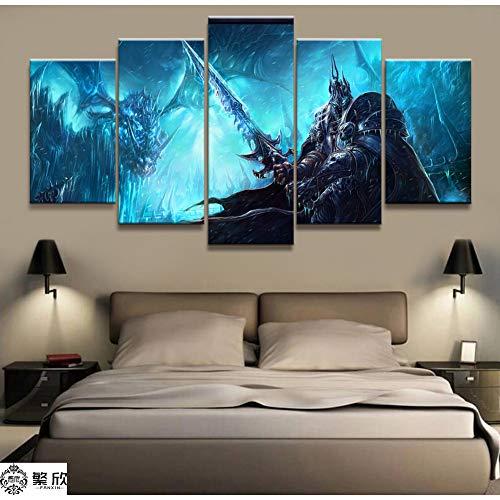 TJJQT 5 Cuadro Lienzo Videojuego 5 Piezas Wow Warcraft
