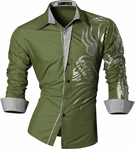 jeansian Herren Freizeit Hemden Shirt Tops Mode Langarmlig Men's Casual Dress Slim Fit 2028 Z001_ArmyGreen