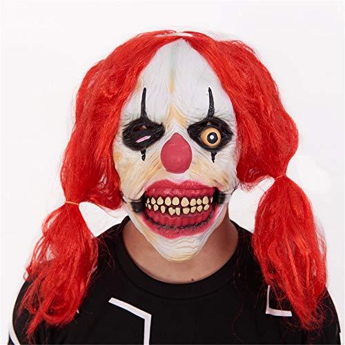 NUOKAI Halloween Maske Terrorist Kopfbedeckung Ghost Scary Männer und Frauen Grimasse Masquerade Teufel Latex Clown Maske, Latex Lustige Clown Maske