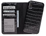 BEMFEY iPhone X Case Monaco in Elegantem Premium Leder • Die 2 in 1 Lösung mit magnetischer und Herausnehmbarer Handyhülle aus Dem Lederetui • Made in Europe • Farbe Schwarz Kroko