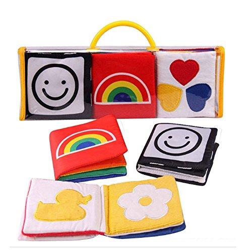 XLKJ 3 Piezas Libros Blandos para Bebes Libros de Tela Pequeños Aprendizaje y Educación para Bebé Niños