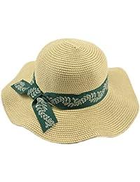 28e36847e7d3f FUBULE Sombrero de Paja Grande de Las señoras Viaje Sombrero de la Playa de  Vacaciones Sombrero de Sol de la Flor del Sol de la Marea de…