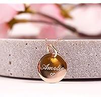 My Heart...Personalisierte Namenskette, 925er Silberkette rosevergoldet, Kette mit Gravur - rosévergoldet