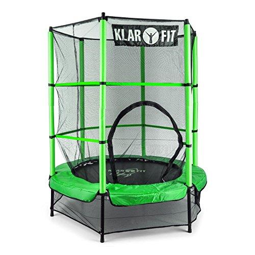 Klarfit Rocketkid • Trampolin • Gartentrampolin • Outdoor-Trampolin • 140 cm Durchmesser • verschließbares Sicherheitsnetz • Bungeeseil-Federung • bis max. 50 kg belastbar • Stangen gepolstert • grün