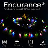 PowerBee ® Endurance Deluxe Solar Fairy Lights 100 MULTI COLOUR Quality Superbright LED's Multi Function Indoor / Outdoor Garden, Party, Tree Lights for ALL YEAR round use including winter (multi colour)