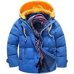 Chaqueta De Plumas Ligeras Con Capucha Niños Para Invierno Abrigo Acolchado Coat Azul 140