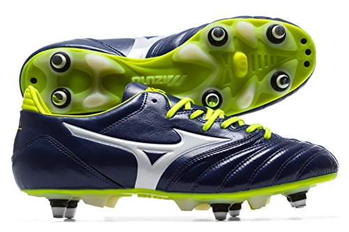 Mizuno Morelia Neo Kl Mix, Chaussures de Football Homme Multicolore (Blueprint/white/safetyyellow)