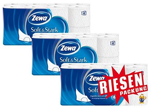 Zewa Soft und Stark Toilettenpapier, weiches, reißfestes WC-Papier 3-lagig in Zewa Qualität, 3 x Vorratspack mit 48 Rollen (3 x 16 - 3-lagige Wc-papier