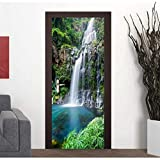 XIAOXINYUAN DIY Wasserfall Landschaft 3D Tür Aufkleber PVC Wasserdicht Poster Wandtattoo Aufkleber Für Schlafzimmer Home Decor
