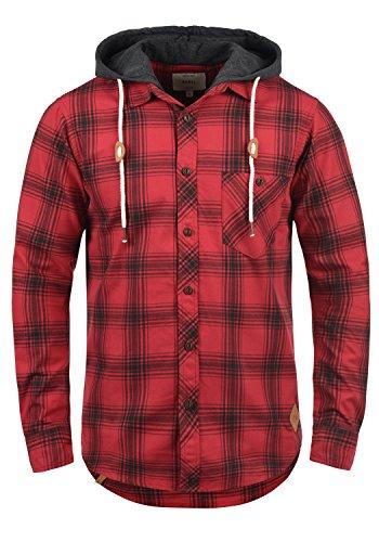 Redefined Rebel Meier Herren Freizeithemd Flanellhemd Hemd mit Karomuster und Sweat-Kapuze aus 100% Baumwolle, Größe:XL, Farbe:Samba
