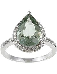 Oro blanco forma de pera verde amatista y diamante anillo (1/5 CTS)