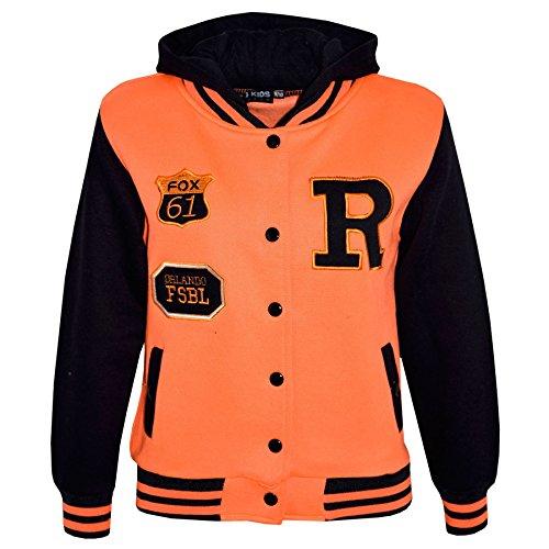 en R Mode FOX Baseball Mit kapuze JACKE Varsity Hoodie Alter 2-13 Jahre (Varsity Jacken Kinder)