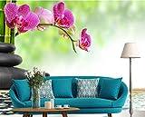 WH-PORP Benutzerdefinierte 3D Tapete Stein Und Orchidee Auf Bambus, 3D Fototapete Wandbild Schlafzimmer Wohnzimmer Tv Wall 3D Tapete-250cmX175cm