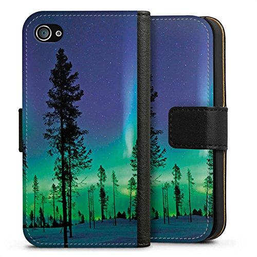 Apple iPhone X Silikon Hülle Case Schutzhülle Bäume Himmel Mystisch Sideflip Tasche schwarz